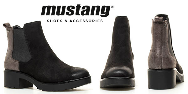 Mustang Kafjar botines tacón cuero sintético mujer chollo