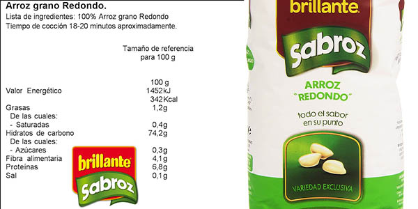 pack 5 paquetes arroz Brillante Sabroz grano redondo natural precio chollo