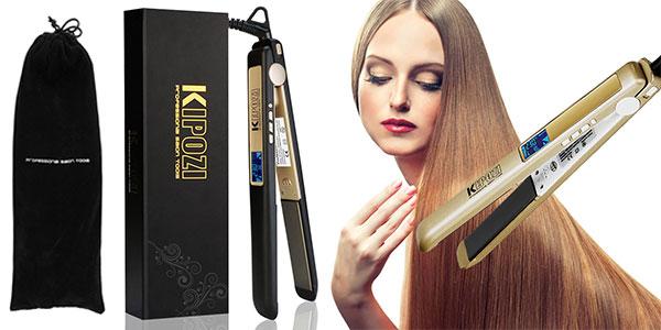 Plancha Kipozi alisadora de pelo profesional con pantalla LCD anti encrespado barata