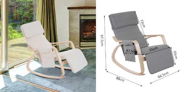Sillón de relax mecedora Homcom con posición ajustable chollo en eBay