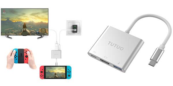 Adaptador Nintendo Switch USB C a HDMI para conectarla a la TV sin dock