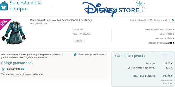 aplicar cupón descuento CARNAVAL10 en tienda Disney Store online