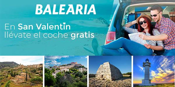 Baleària San Valentín embarque coche gratis febrero 2018