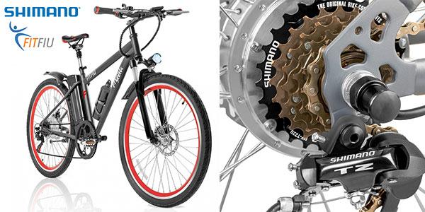 Bicicleta eléctrica Fitfiu con batería de litio de 36V y 250W con cambio shimano y rueda de 26 pulgadas barata