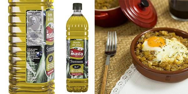botellas de 1 litro de aceite de oliva La Masía Sumum 1º de acidez a precio brutal