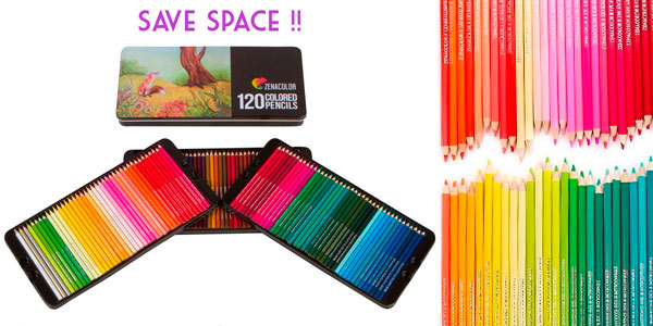 Caja metálica de 120 lápices de colores Zanacolor baratos en Amazon