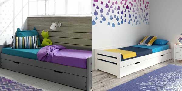 Chollo cama nido elena de 90 x 190 cm de madera maciza en for Cama nido color madera