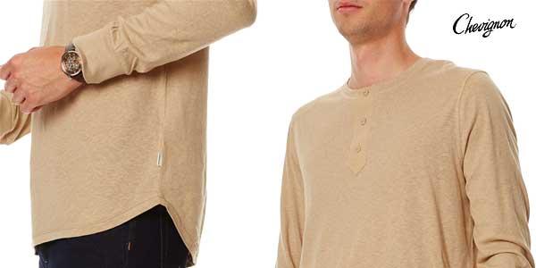 Camiseta Chevignon de manga larga para hombre en color beige chollo en eBay España