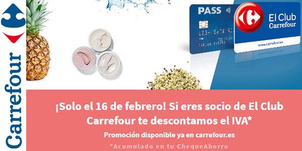 Carrefour Día sin IVA productos supermercado 16 de febrero 2018