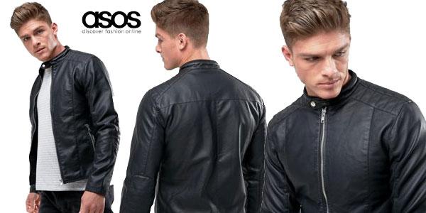 Chaqueta biker de cuero sintético Barney's Originals para hombre en color negro chollazo en Asos