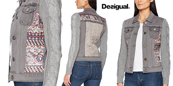 Chaqueta de mezclilla Desigual Exotic Silver para mujer barata en Amazon Moda