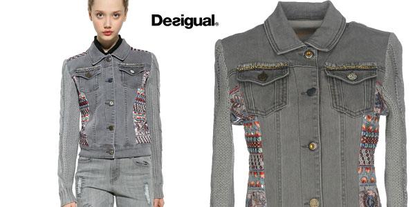 Chaqueta de mezclilla Desigual Exotic Silver para mujer chollo en Amazon Moda