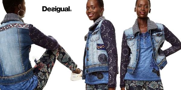 Chaqueta de mezclilla Desigual Exotic Crochet barata en Amazon Moda