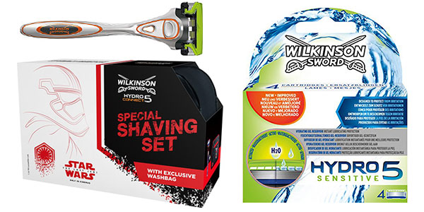 Chollo Pack Star Wars de cuchilla Wilkinson Hydro Sensitive + 4 recambios y neceser