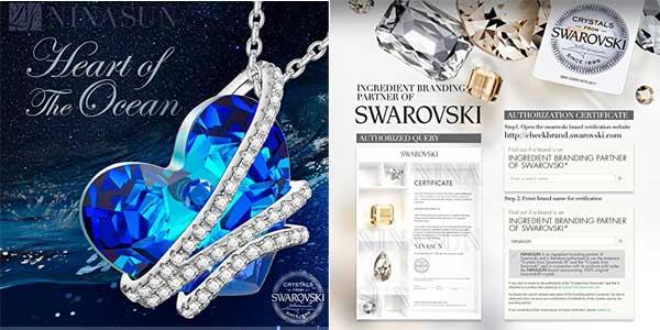 """Colgante NINASUN """"Corazón del Océano"""" en Plata de Ley con sello 925 y cristales de Swarovski chollazo en Amazon Moda"""