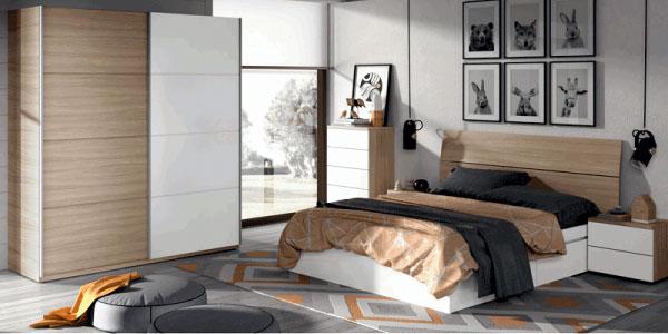 Cabezal y mesitas de noche Duehome en blanco brillo y madera natural chollazo en eBay España
