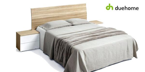 Cabezal y mesitas de noche Duehome en blanco brillo y madera natural barato en eBay España