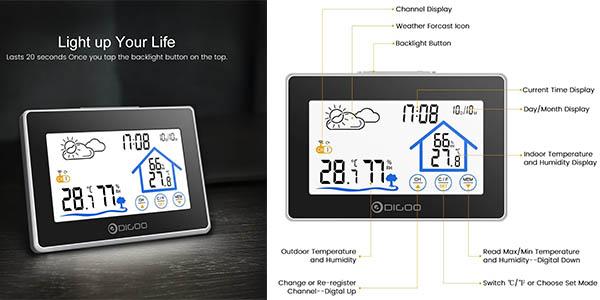 estación metereológica Digoo DG TH8380 para controlar la temperatura, la humedad y la fecha y hora a precio brutal