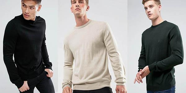 French Connection jersey de punto con cuello redondo para hombre oferta