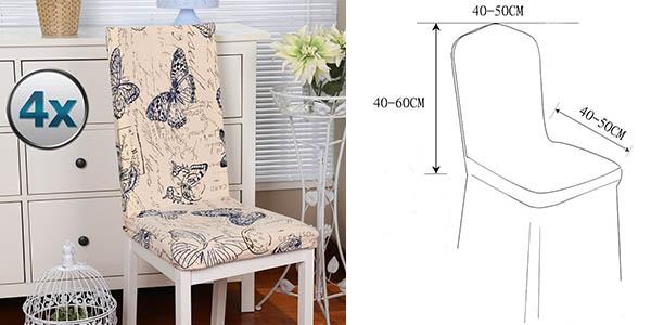 fundas para sillas en diferentes colores y estampados fáciles de colocar oferta