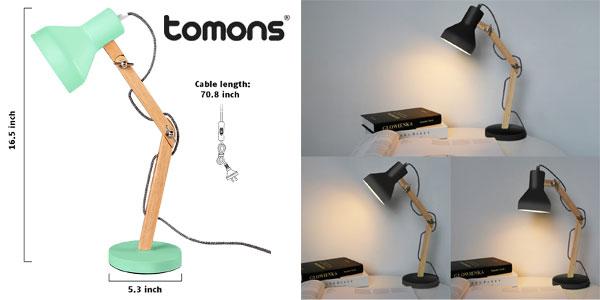 Lámpara de Escritorio Tomons DL1004 de madera y metal chollo en Amazon