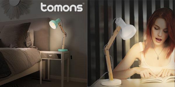 Lámpara de Escritorio Tomons DL1004 de madera y metal chollazo en Amazon