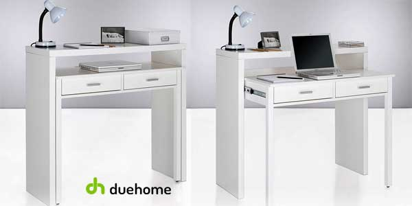 Mesa consola escritorio extensible en blanco brillo de Duehome barata en eBay