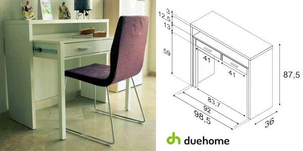 Mesa consola escritorio extensible en blanco brillo de Duehome chollo en eBay