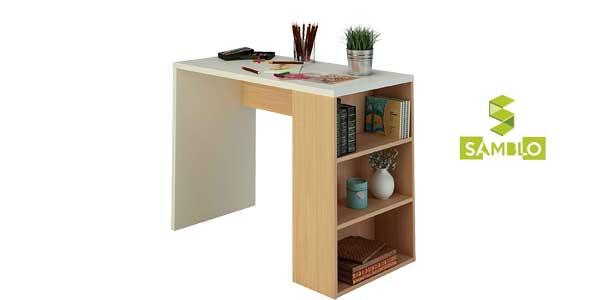 Mesa escritorio de melamina con estanteria en blanco y nogal barata en Amazon