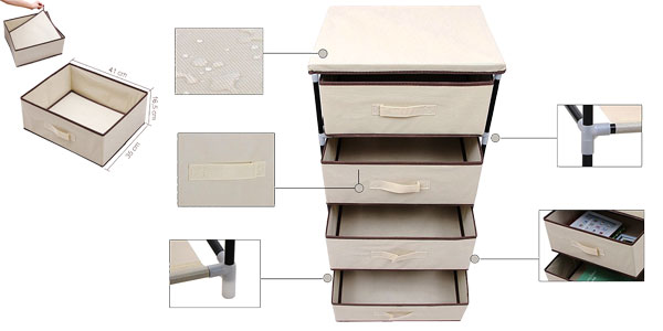 Organizador Songmics con 4 cajones de tela multiusos en color beige chollo en Amazon España