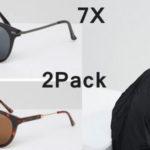 Pack de 2 pares de gafas de sol 7X redondas de para hombre baratas en Asos