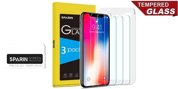 Pack de 3 Protectores de pantalla cristal templado para iPhone X Sparin baratos en Amazon