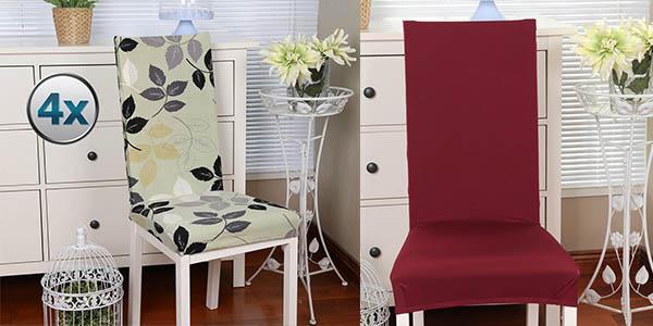 Pack 4 sillas de comedor tejido elástico a precio brutal
