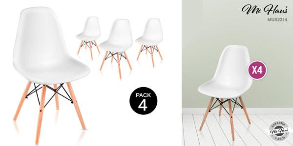 Pack de 4 sillas Tower McHaus de diseño nórdico baratas en eBay