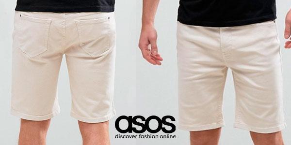 Chollo Pantalones cortos chinos Hoxton Denim de color blanco rosado para hombre
