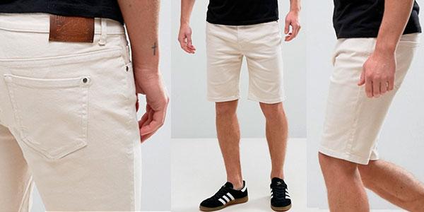 Pantalones cortos chinos Hoxton Denim de color blanco rosado para hombre en oferta
