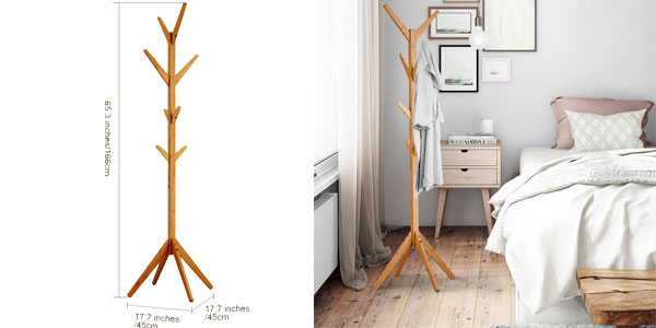 Perchero Langria de bambú tipo árbol con 8 ganchos en 4 niveles chollazo en Amazon