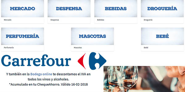 productos de Supermercado de Carrefour con descuentos sin Iva febrero 2018