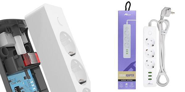 Chollo Regleta Ome de 3 enchufes y 3 puertos USB de 3,1 A de potencia y cable de 1,8 metros