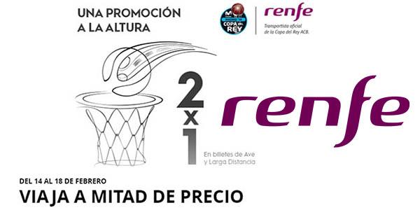 Renfe promoción 2x1 en billetes de Larga Distancia y AVE febrero 2019