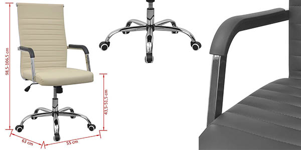 Chollazo silla de oficina en cuero artificial y acero con for Precio silla escritorio
