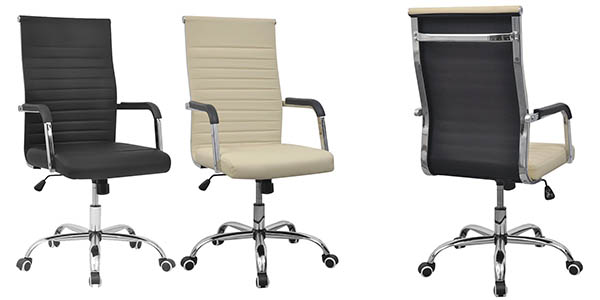 Chollazo silla de oficina en cuero artificial y acero con for Silla oficina oferta