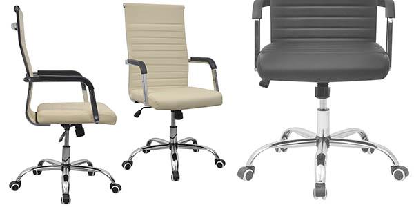 silla de oficina en diseño de imitación cuero acolchado con genial relación calidad-precio