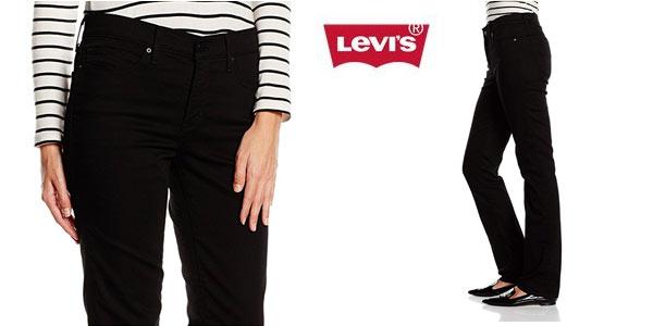 Vaqueros Levi's 314 shaping straight para mujer en color negro a buen precio en Amazon