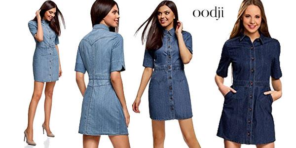 2e2f230bf Vestido vaquero con botones de Oodji Ultra para mujer barato en Amazon Moda