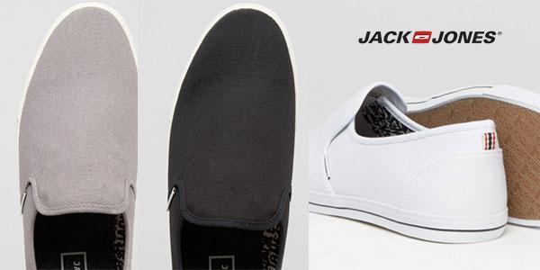 Zapatillas Jack & Jones de lona sin cordones en colores gris, blanco y negro baratas