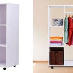 Armario móvil colgador abierto Homcom de madera blanco barato en eBay España