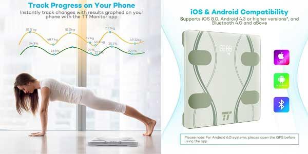 SÓLO HOY: Comprar Báscula de baño inteligente TaoTronics con analizador corporal y App para iOS – Android chollazo en Amazon