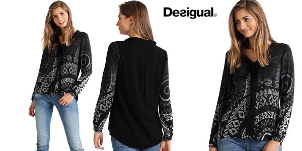 Blusa Desigual Lazo Noa en color negro para mujer chollazo en Amazon