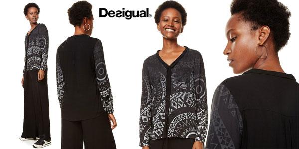 Blusa Desigual Lazo Noa en color negro para mujer barata en Amazon